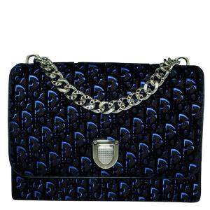 Dior Blue/Black Velvet Leather Oblique Diorama Bag