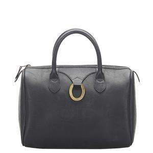 Dior Black Leather Canvas Oblique Boston Bag
