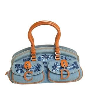 Dior Blue/Brown Denim Floral Embroidered Frame Satchel
