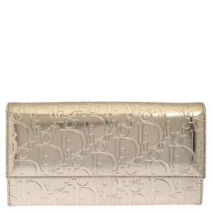 Dior Gold Leather Logo Embossed Continental Wallet