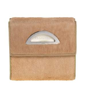 Dior Beige/Cream Calf Hair and Patent Leather Trifold Wallet