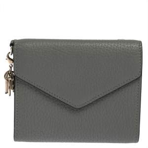 Dior Grey Leather Diorissimo Envelope Wallet