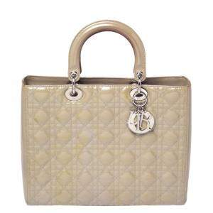 Dior Grey Cannage Patent Leather Large Lady Dior Tote