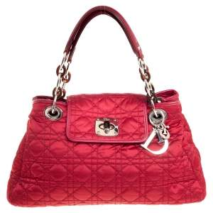 Dior Dark Maroon Cannage Nylon and Leather Charming Lock Satchel