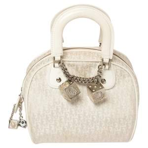 Dior White Oblique Canvas and Leather Gambler Dice Bag