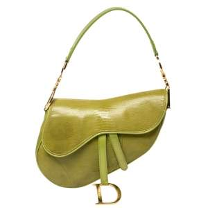Dior Green Lizard Embossed Patent Leather and Suede Limited Edition Saddle Bag