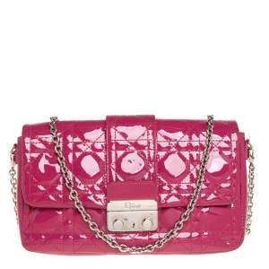 Dior Fuchsia Cannage Patent Leather New Lock Chain Clutch