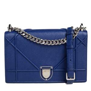 Dior Blue Leather Medium Diorama Flap Shoulder Bag
