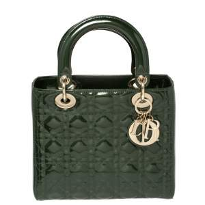 حقيبة يد ديور ليدي ديور  متوسطة جلد لامع كاناج أخضر داكن