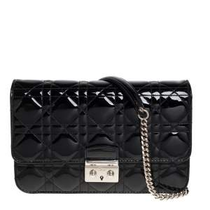 Dior Black Cannage Patent Leather Miss Dior Promenade Chain Bag