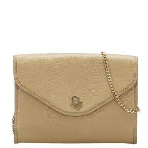 Dior Beige/Brown Leather Shoulder Bag