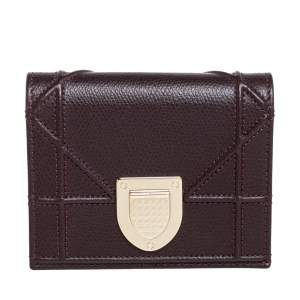 Dior Burgundy Leather Diorama Wallet