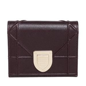 Dior Burgundy Leather Diorama Wallet
