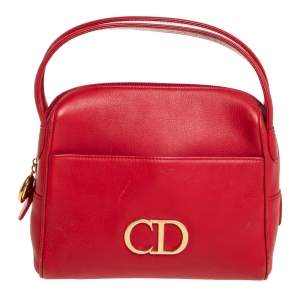 Dior Red Leather CD Logo Satchel
