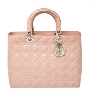 Dior Pink Cannage Patent Leather Large Lady Dior Tote