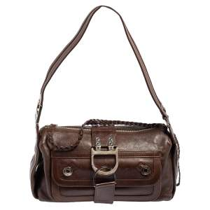 Dior Brown Leather Flight East/West Hobo