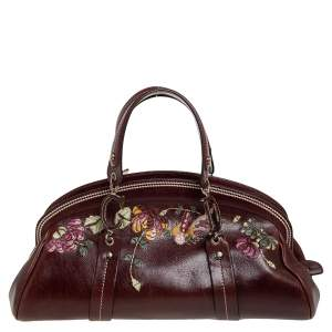 Dior Brown Leather Flowers Embroidered Satchel