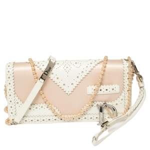 Dior Beige Satin and Patent Leather D'Trick Clutch