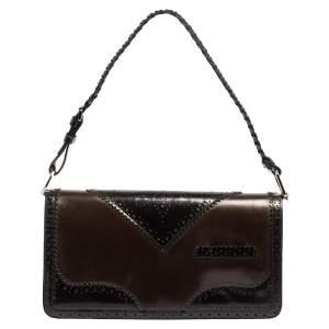 Dior Black/Maroon Brogue Leather and Oblique Canvas D'Trick Baguette Bag