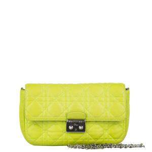 Dior Yellow/ Neon Cannage Miss Dior Promenade Chain Leather Crossbody Bag