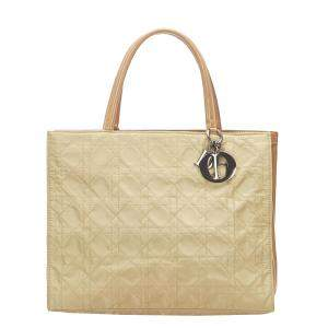 Dior Beige/Brown Cannage Nylon Leather Shopper Tote Bag