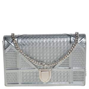 Dior Metallic Silver Micro Cannage Patent Leather Mini Diorama Chain Clutch