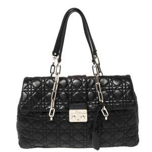 Dior Black Cannage Leather Lock Flap Tote