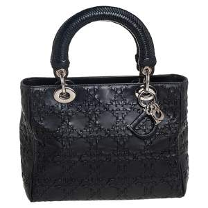 Dior Black Cannage Whipstitch Leather Medium Lady Dior Tote