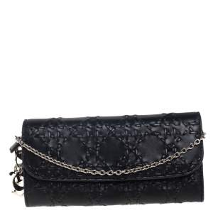 Dior Black Leather Lady Dior Wallet on Chain