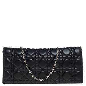 Dior Black Cannage Leather Lady Dior Chain Clutch