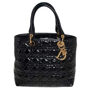 Dior Black Cannage Patent Leather Soft Lady Dior Tote