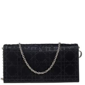 Dior Black Satin Crystal Embellished Clutch