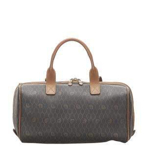 Dior Black/Brown Canvas Honeycomb Boston Bag