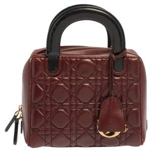 Dior Burgundy/Black Cannage Leather Lily Bag