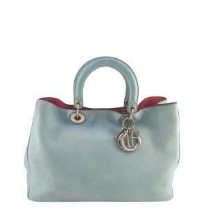 Dior Blue Leather Medium Diorissimo Tote Bag