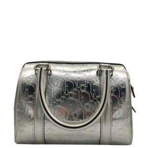 Dior Silver Leather Boston Bag