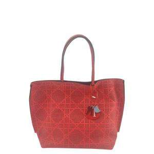 Dior Red Canvas Leather Cabas Shoulder Bag
