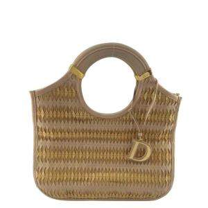 Dior Gold Leather Top Handle Bag