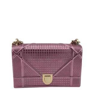Dior Purple Leather Diorama Shoulder Bag