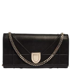 Dior Black Shimmering Leather Diorama Wallet on Chain