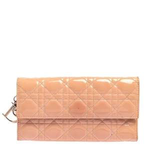 Dior Pink Cannage Patent Leather Lady Dior Chain Clutch