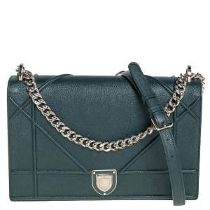 Dior Deep Green Leather Large Diorama Flap Shoulder bag