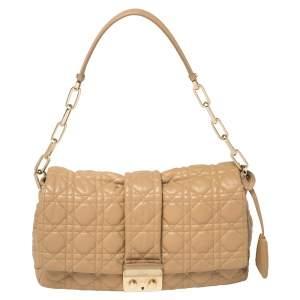 Dior Beige Cannage Patent Leather Medium New Lock Shoulder Bag