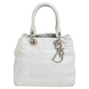 Dior White Cannage Leather Lady Dior Soft Tote
