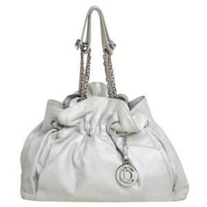 Dior Silver Shimmer Nubuck Leather Le Trente Hobo