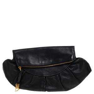 Dior Black Leather Gipsy Fold Over Clutch