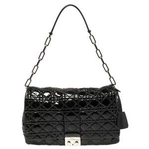 Dior Black Cannage Patent Leather Large New Lock Flap Shoulder Bag