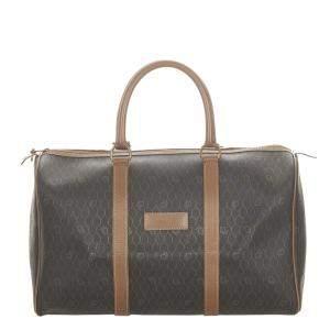 Dior Brown Honeycomb Canvas Travel Bag