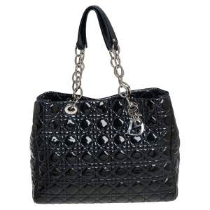 Dior Indigo Blue Cannage Patent Leather Soft Lady Dior Shopper Tote