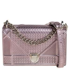 Dior Metallic Rose Gold Micro Cannage Patent Leather Small Diorama Shoulder Bag